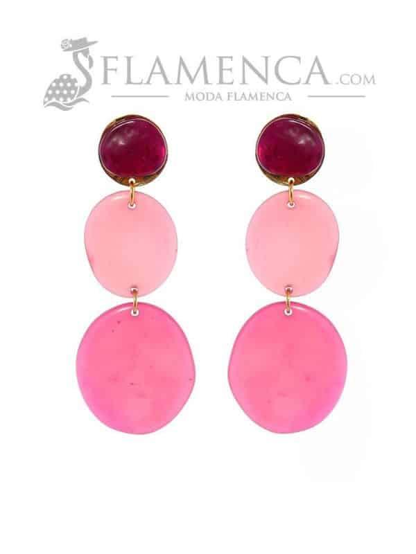 Pendiente de flamenca de resina cristal buganvilla degradé