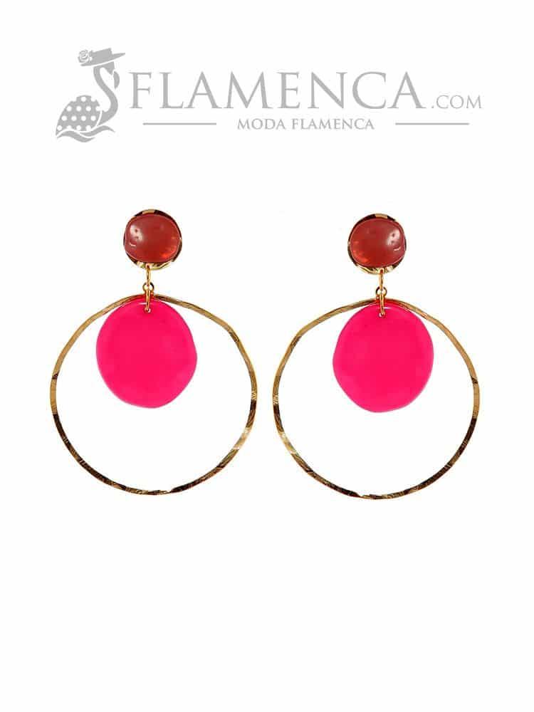 17902e6549ce Pendiente de flamenca de resina cristal buganvilla y maquillaje ...