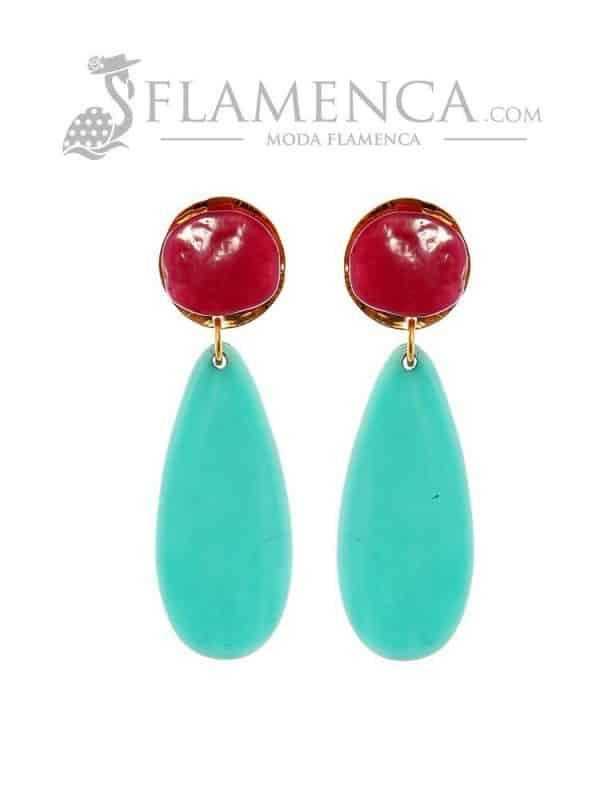 Pendiente de flamenca de resina cristal cardenal y agua marina
