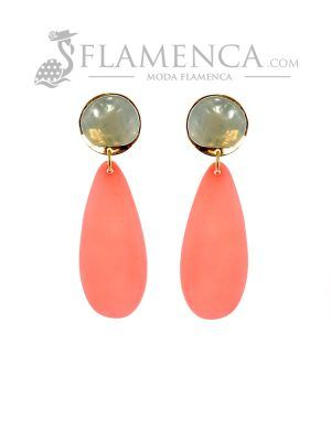 Pendiente de flamenca de resina cristal celeste y rosa