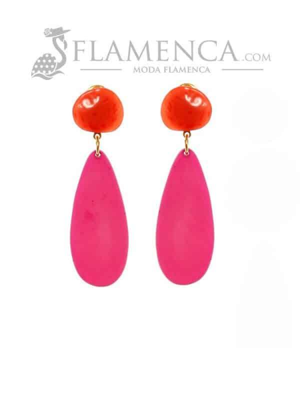 Pendiente de flamenca de resina cristal coral y cardenal