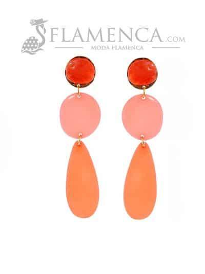 Pendiente de flamenca de resina cristal coralina degradé