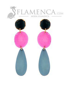 Pendiente de flamenca de resina cristal multicolor