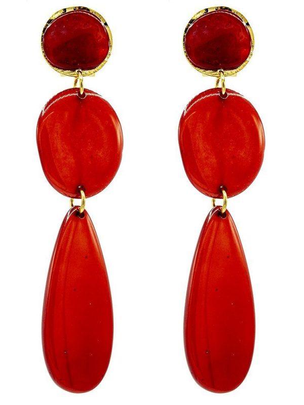 Pendiente de flamenca de resina cristal rojo