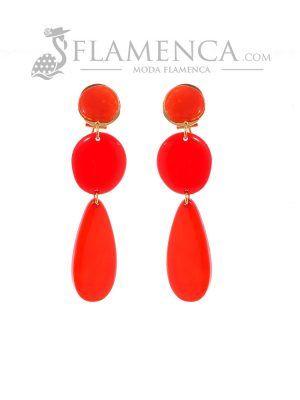 Pendiente de flamenca de resina cristal rojo degradé