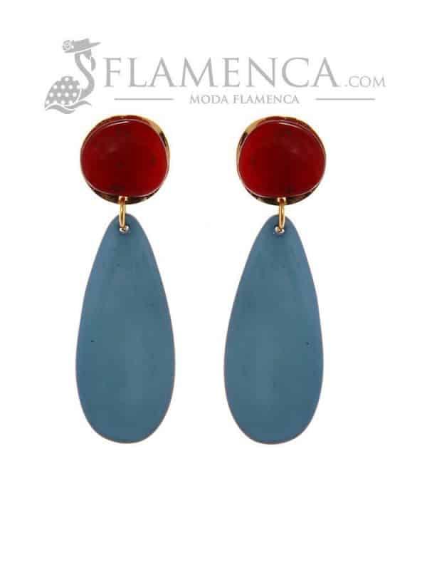 Pendiente de flamenca de resina cristal rojo y zafiro