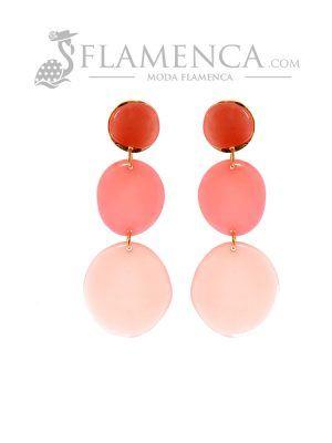 Pendiente de flamenca de resina cristal rosa degradé