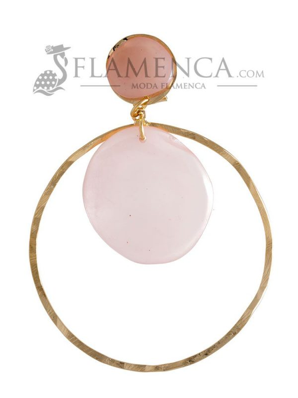 Pendiente de flamenca de resina cristal rosa palo