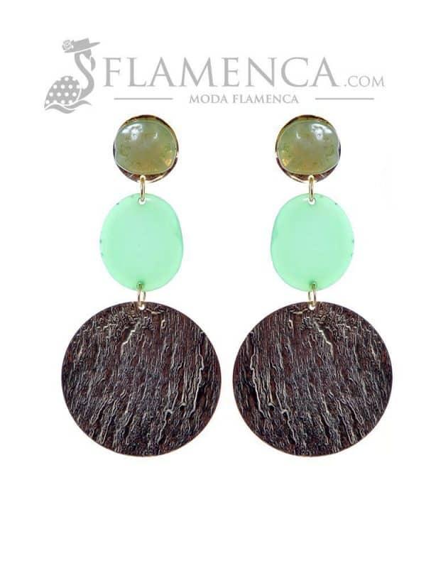 Pendiente de flamenca de resina cristal verde degradé