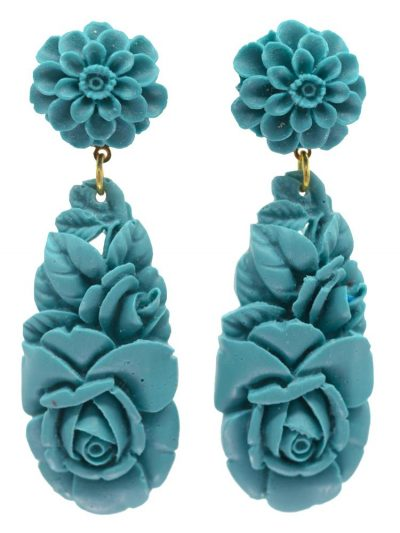 Cyan resin flamenco earring