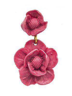 Pendiente de flamenca de resina frambuesa