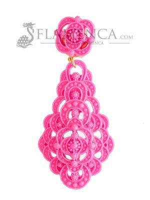Pendiente de flamenca de resina fucsia