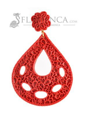 Garnet resin flamenco earring