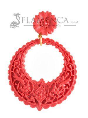 Pendiente de flamenca de resina coralina