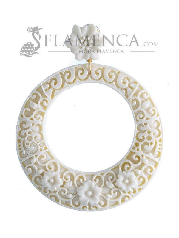 Ivory resin flamenco earring