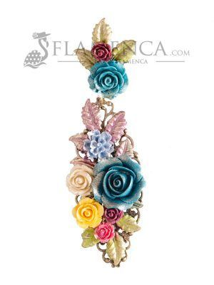 Pendiente de flamenca de resina multicolor