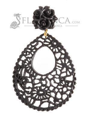 Pendiente de flamenca de resina negro