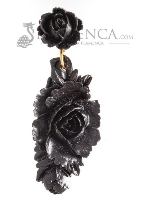 Black resin flamenco earring