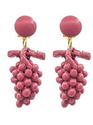 Pendiente de flamenca de resina racimo fresa
