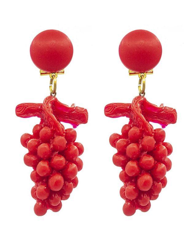 Pendiente de flamenca de resina racimo rojo