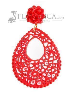 Red resin flamenco earring