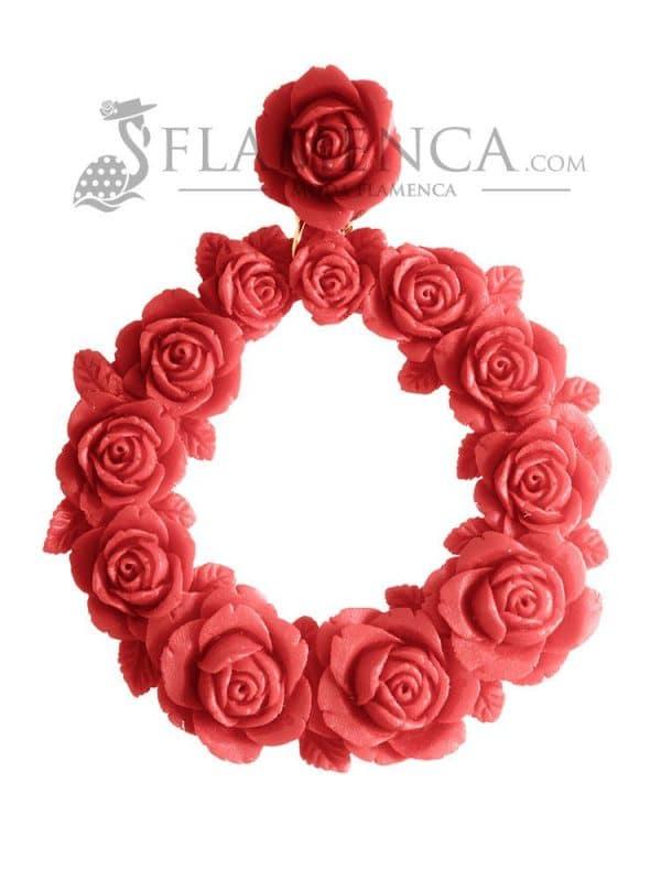 Red resin flamenco earring