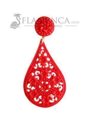 Pendiente de flamenca de resina rojo