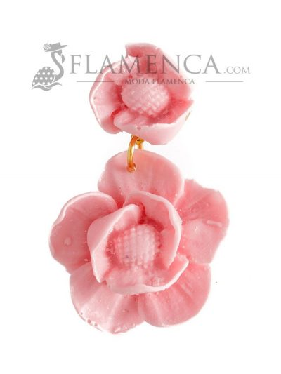 Pendiente de flamenca de resina rosa