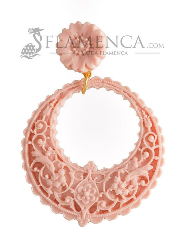 Pendiente de flamenca de resina rosa palo