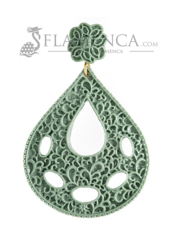 Pendiente de flamenca de resina verde agua antiguo