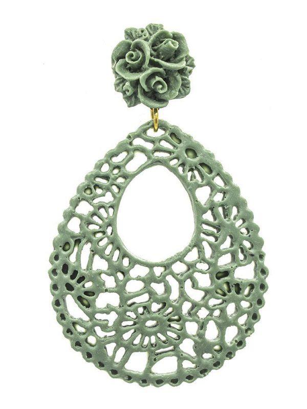 Pendiente de flamenca de resina verde caki