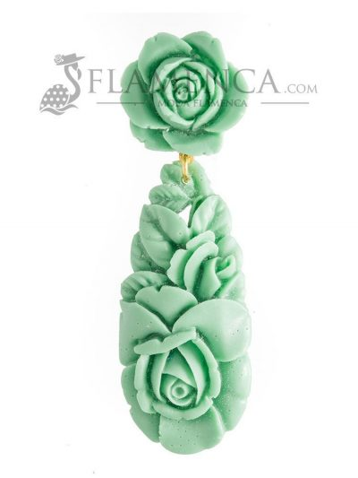 Pendiente de flamenca de resina verde pastel