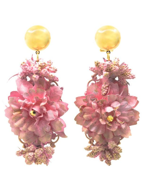 Flamenca earring in the shape of a tear, golden stud and tear with metallic ball. Pink tone and golden highlights. Omega closure. Measures: 80 x 30 mm (without head). Handmade in Seville.