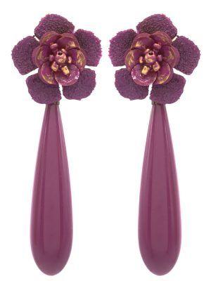 Pendiente de flamenca en forma de lágrima color buganvilla
