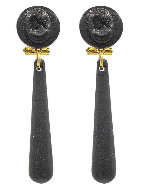 Pendiente de flamenca en resina de lágrima pequeña color negro