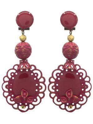 Pendiente de flamenca esmaltado burdeos con reflejos dorados
