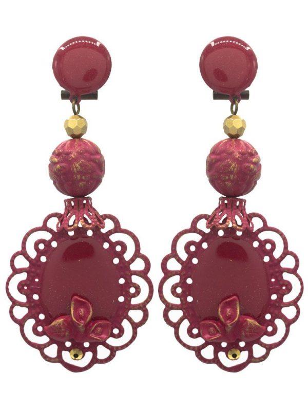Burgundy enameled flamenco earring with golden highlights