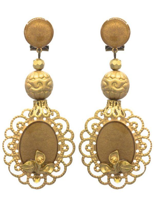 Pendiente de flamenca esmaltado dorado
