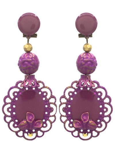 Enameled purple flamenco earring with golden highlights