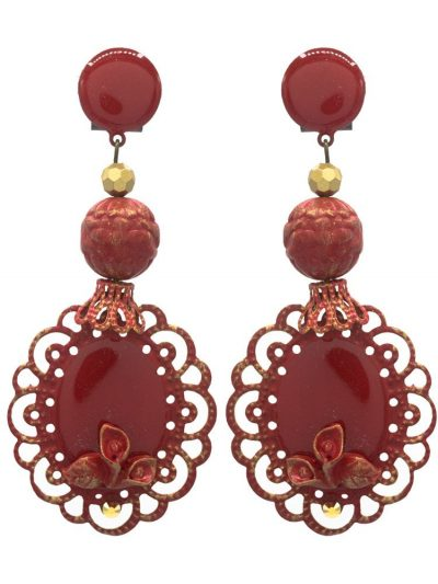 Red enameled flamenco earring with golden highlights