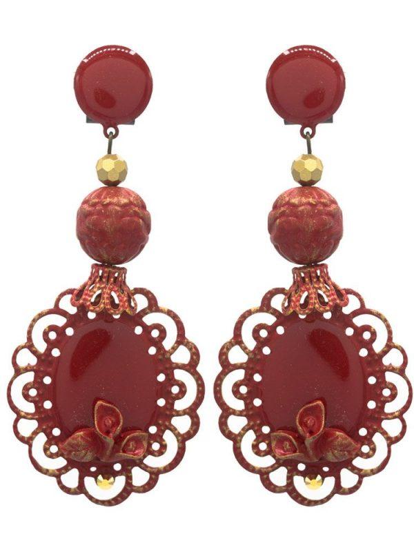 Pendiente de flamenca esmaltado rojo con reflejos dorados