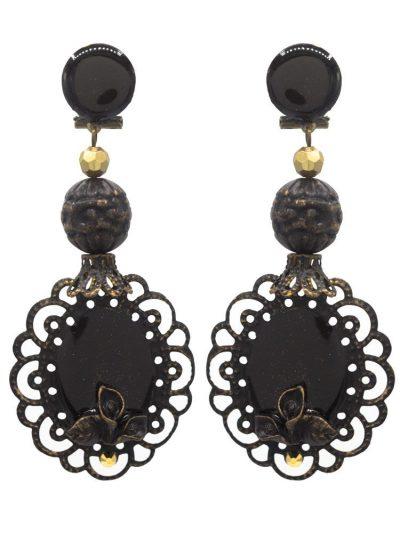 Pendiente de flamenca esmaltado negro con reflejos dorados
