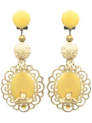 Enameled ivory flamenco earring with golden highlights