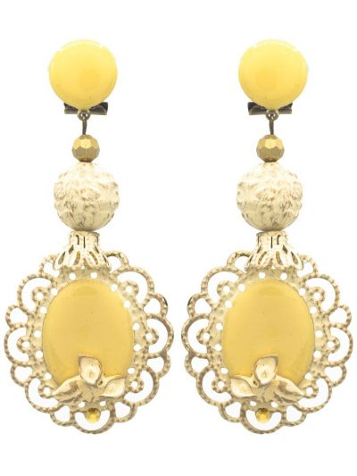 Pendiente de flamenca esmaltado marfil con reflejos dorados