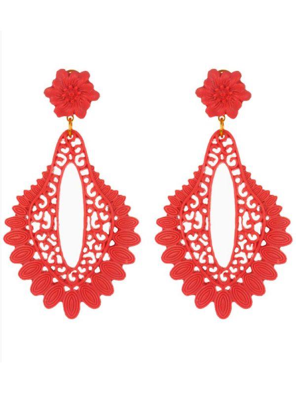 Red resin filigree flamenco earring