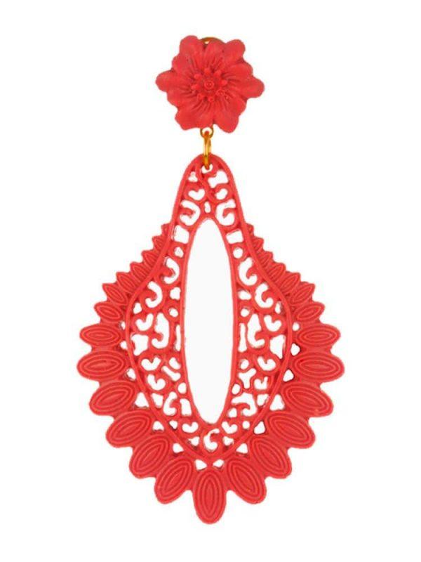 Pendiente de flamenca filigrana de resina color rojo