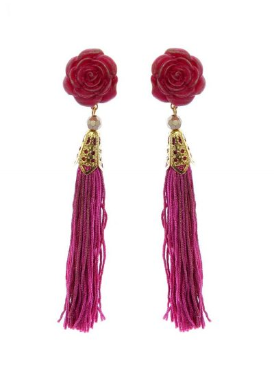 Pendiente de flamenca flecos buganvilla y dorado