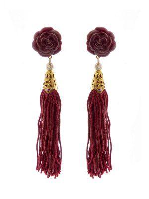 Pendiente de flamenca de flecos burdeos con reflejos dorados, capuchón metálico dorado y cabezal de resina en forma de flor. Cierre omega. Medida: 10 x 90 mm (sin cabezal). Fabricado artesanalmente en Sevilla.
