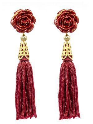 Pendiente de flamenca flecos rojos con reflejos dorados