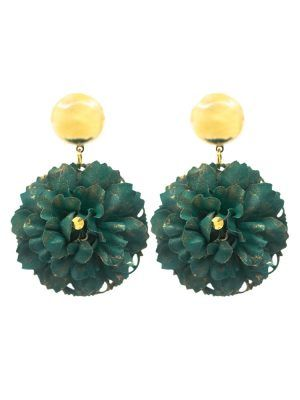 Flamenco flower earring with a green bottle, metallic fittings, golden stud and golden metallic ball. Omega closure. Measures: 40 x 40 mm (without head). Handmade in Seville.